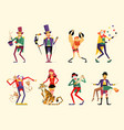 cartoon circus characters circus performers set vector image vector image