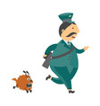 cartoon postman character running away vector image vector image