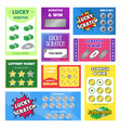cartoon scratch cards different types set vector image