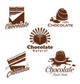 chocolate candy bar cacao dessert emblem design vector image
