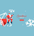 christmas sale banner santa claus in mobile phone vector image