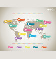 colorful globe map with color stickers vector image vector image