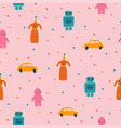 Cute and funny retro toys seamless pattern