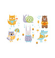 cute forest animals set autumn season design vector image vector image