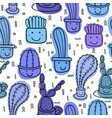 cute seamless cactus pattern background vector image vector image
