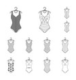 different types of swimsuits outline icons in set vector image