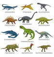 dinosaurs set tyrannosaurus rex triceratops vector image vector image
