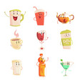 funny cup bottle glass with drinks standing and vector image vector image