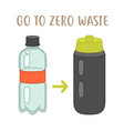go to zero waste - plastic bottle vs reusable vector image vector image