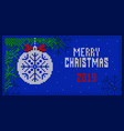 greeting card with merry christmas merry 2019 year vector image