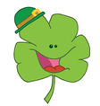 Happy Green Clover Wearing A Green Hat vector image vector image