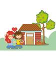 hippie couple at garden vector image vector image