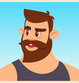 hipster with a beard in glasses avatar vector image