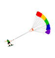 kite surfer on waves water sport with parachute vector image vector image