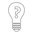 light bulb with question mark inside icon outline vector image vector image