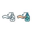 liquid soft soap line icon with bubbles vector image vector image