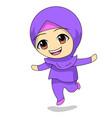 little girl dancing cute muslim children cartoon vector image vector image
