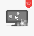 Make money online concept icon Flat design gray vector image vector image