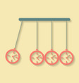 Newtons Cradle concept of procrastination with vector image vector image