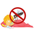 No mosquito while girl sleeping vector image vector image