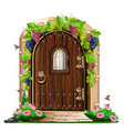 old wooden door in the garden vector image vector image