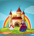 princess and queen at castle vector image