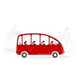 Red bus with people on the city street vector image