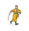 Samurai Warrior Running vector image vector image