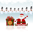 Santa Claus sitting with gifts and snowman vector image vector image
