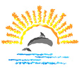 Seascape with a dolphin template logo travel vector image vector image