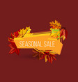 seasonal sale geometric label with autumn leaves vector image vector image