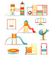set different kid s playground equipment vector image vector image