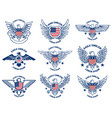 set emblems with eagles and usa flags design vector image vector image