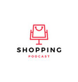 shopping podcast logo icon for shop blog video vector image vector image