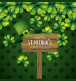 st patrick hat with clovers and wood emblem to vector image