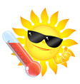 sun and thermometer high temperature vector image vector image