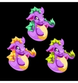 Three funny purple sea dragon vector image vector image