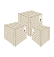 Three Wooden Cargo Boxs on White Background vector image vector image