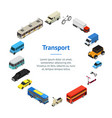 transport car 3d banner card circle isometric view vector image vector image