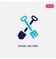 two color shovel and fork icon from construction vector image vector image