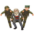 Two soilders and man with bomb vector image