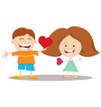 valentine card with cartoon girl and boy vector image