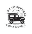 vintage surf logo print design for t-shirt and vector image vector image