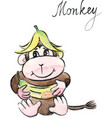 watercolor funny monkey vector image vector image