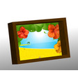 wooden photo frame with summer picture vector image vector image