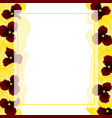 yellow pansy flower banner card border vector image vector image