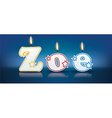 ZOE written with burning candles vector image vector image