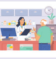 pharmacist at counter in pharmacyman buys drugs vector image