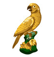 a golden statue of a parrot isolated on white vector image