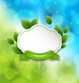 Abstract label with eco green leaves and ribbon on vector image vector image